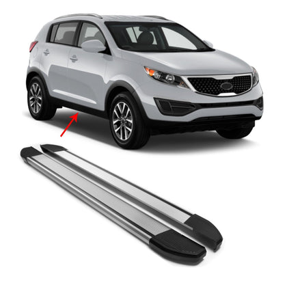 Silver Running Boards Side Steps Nerf Bars Set For Kia Sportage 2011-2016