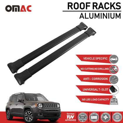 Roof Rack Cross Bars Luggage Carrier Black For Jeep Renegade 2019-2020