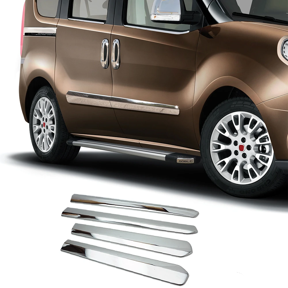 Fits RAM Promaster City 2015-2021 Chrome Side Door Body Trim Cover S.Steel 4 Pcs