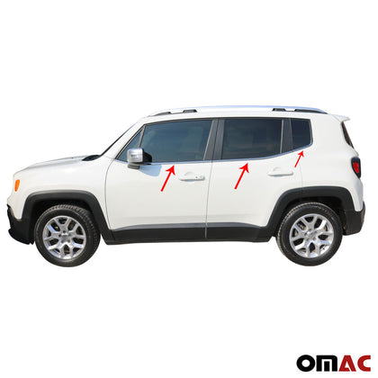 For JEEP Renegade 2018-2020 Dark Chrome Window Frame Trim Cover S.Steel 6 Pcs