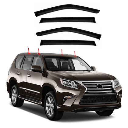 Window Visor Vent Sun Shade Rain Guard 4pcs Fits Lexus GX460 2014-2016