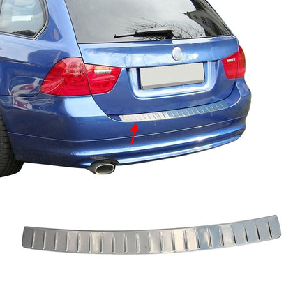 Fits BMW 3 Series E91 2005-2012 Chrome Rear Bumper Guard Trunk Sill Protector Omac Shop Usa - Auto Accessories