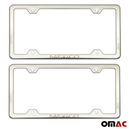 MEXICO Print License Plate Frame Chrome S. Steel 2 Pcs For Nissan Rogue