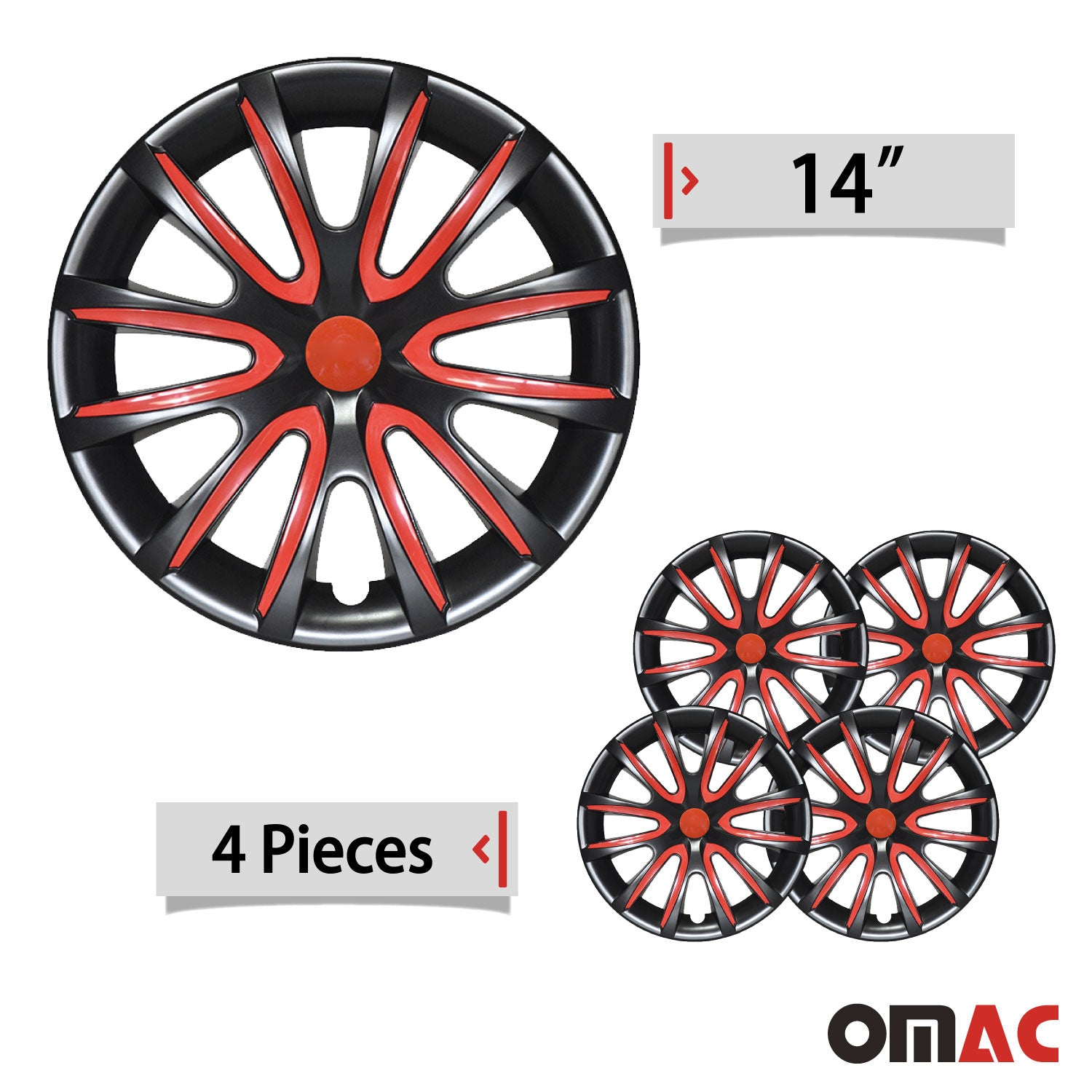 "14"" Inch Hubcaps Wheel Rim Cover Glossy Black with Red Insert 4pcs Set"