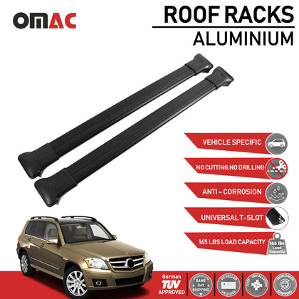 Roof Rack Cross Bars Luggage Carrier Black for Mercedes GLK Class 2010-2020