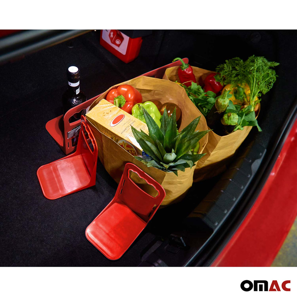 Red Trunk Organizer Velcro Stopper Stand 3 Pcs. For