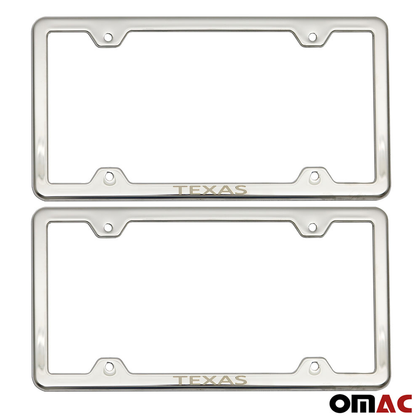 TEXAS Print License Plate Frame Chrome S. Steel 2 Pcs For Nissan Rogue