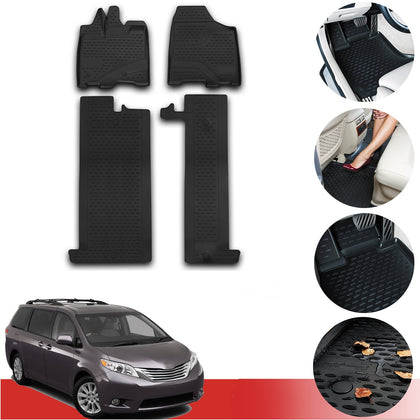 Floor Mats Liner 3D Molded  Rubber Black Fits Set fits Toyota Sienna 2011-2020 - Omac Shop Usa - Auto Accessories