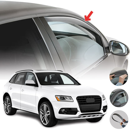 Window Visor Vent Sun Shade Rain Guard 2pcs Fits Audi Q5 SQ5 2009-2017