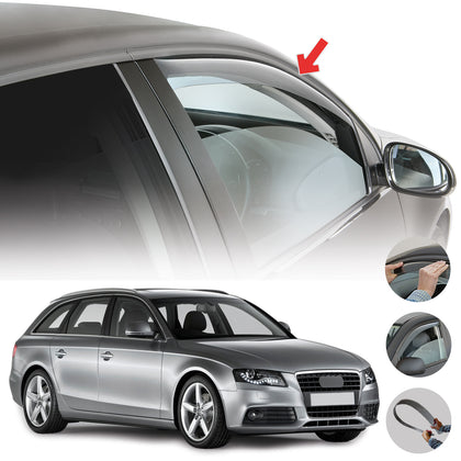 Window Visor Vent Sun Shade Rain Guard 2pcs Fits Audi A4 Avant 2008-2016