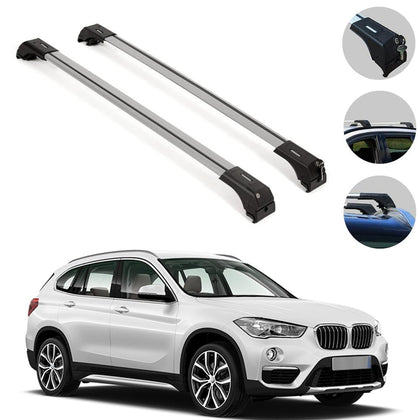 Roof Rack Cross Bars Luggage Carrier Silver for BMW X1 (E84) 2013-2015