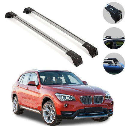 Fits BMW X1 E84 2013-2015 Roof Rack Silver Aluminum Cross Bars Luggage Carrier
