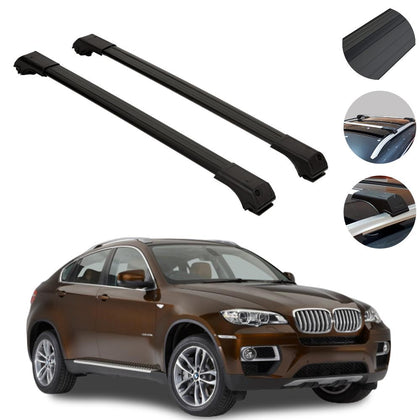 Roof Rack Cross Bars Luggage Carrier Black for BMW X6 E71 2008-2014