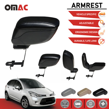 Omac usa - Black Leather Armrest Centre Console Storage Box for CITROEN C3 2009-2016 - Omac Shop Usa - Auto Accessories