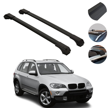Roof Rack Cross Bars Luggage Carrier Black Set for BMW X5 2004-2007