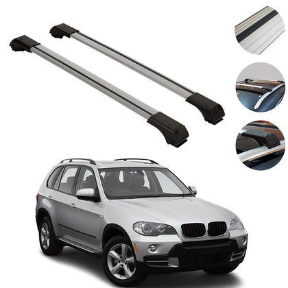 Roof Rack Cross Bars Luggage Carrier Silver Set for BMW X5 2004-2007