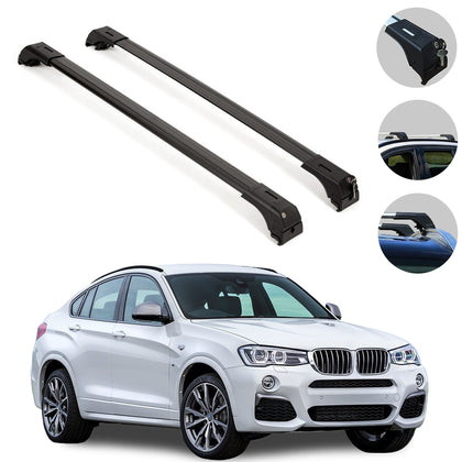 Omac usa - Roof Racks Cross Bars Top Cross Rails Black Alu. 2 Pcs. for BMW X4 F26 2015-2019 - Omac Shop Usa - Auto Accessories