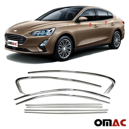 Chrome Window Frame Overlay Cover Trim 8Pcs Steel for Ford Focus Wagon 2018-2020