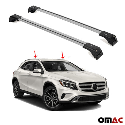 Omac usa - Merceses Benz GLA 2014- Roof Racks Cross Bars Top Carriage Rails Alu. SILVER 2Pc - Omac Shop Usa - Auto Accessories