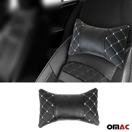1x Car Seat Neck Pillow Head Shoulder Rest Pad PU Leather Black with White