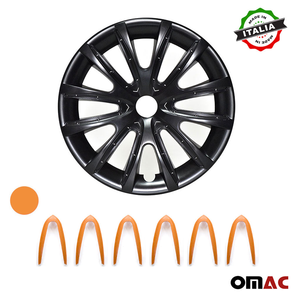 "15"" Inch Hubcaps Wheel Rim Cover Glossy Black with Orange Insert 4pcs Set"