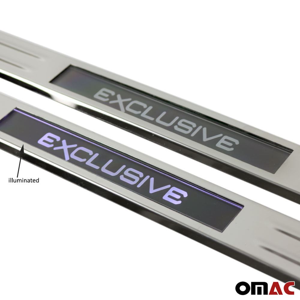 Fits Ford Escape 2013-2019 Chrome LED Door Sill Cover S.Steel EXCLUSIVE 2 Pcs