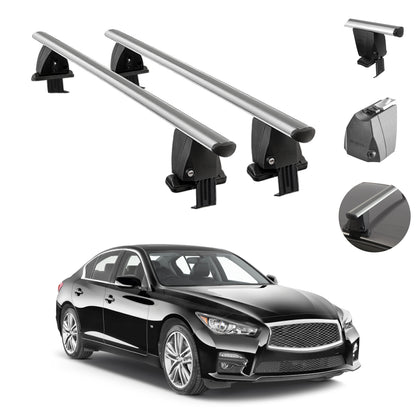 Silver Smooth Top Roof Rack Cross Bar Luggage Carrier For Infiniti Q50 2014-2021
