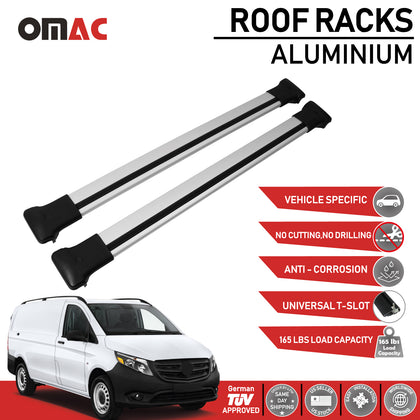 Fits Mercedes Vito W447 2014-2020 Silver Roof Rack Cross Bars Luggage Carrier