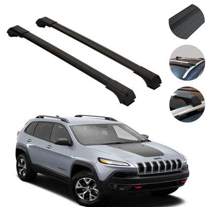 Roof Rack Cross Bars Luggage Carrier Black for Jeep Cherokee 2014-2020