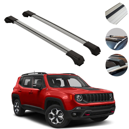 Omac usa - Roof Rack Cross Bars Top Cross Rails SILVER Alu SET 2Pc for JEEP RENEGADE 2014- - Omac Shop Usa - Auto Accessories