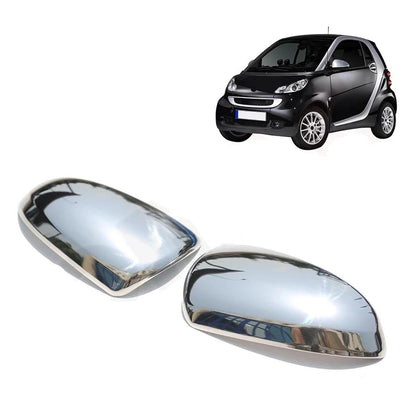 Fits Smart ForTwo 2008-2015 Stainless Steel Chrome Side Mirror Cover Cap Set Omac Shop Usa - Auto Accessories