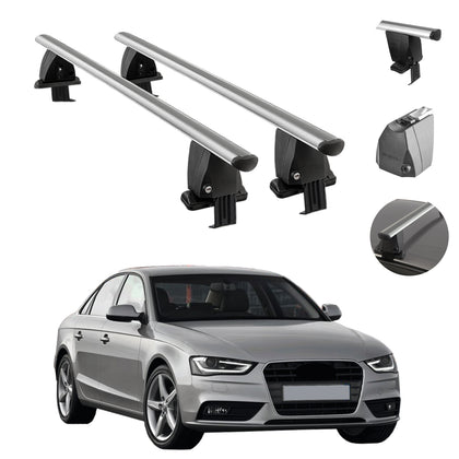 Silver Smooth Top Roof Rack Crossbar Luggage Carrier For Audi A4 Sedan 2013-2016