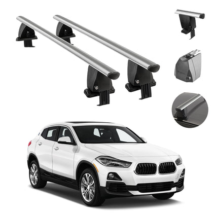 Silver Smooth Top Roof Rack Cross Bar Luggage Carrier Alu. For BMW X2 2018-2021