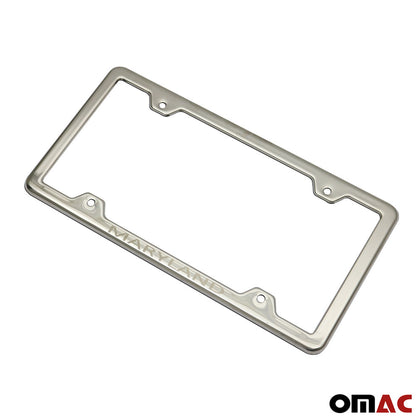 MARYLAND Print License Plate Frame Chrome S. Steel 2 Pcs Fits Nissan Rogue