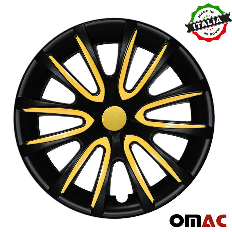 "16"" Inch Hub Cap Wheel Rim Cover Matt Black with Yellow for Hyundai Sonata Set"