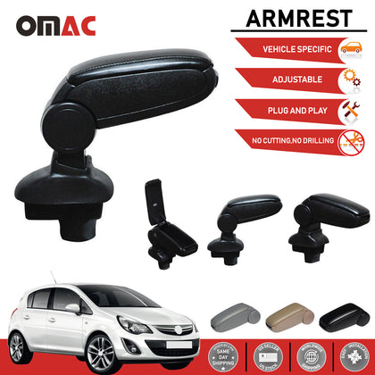 Black Leather Center Console Storage Armrest for Opel Corsa 2007-2015 Omac Shop Usa - Auto Accessories