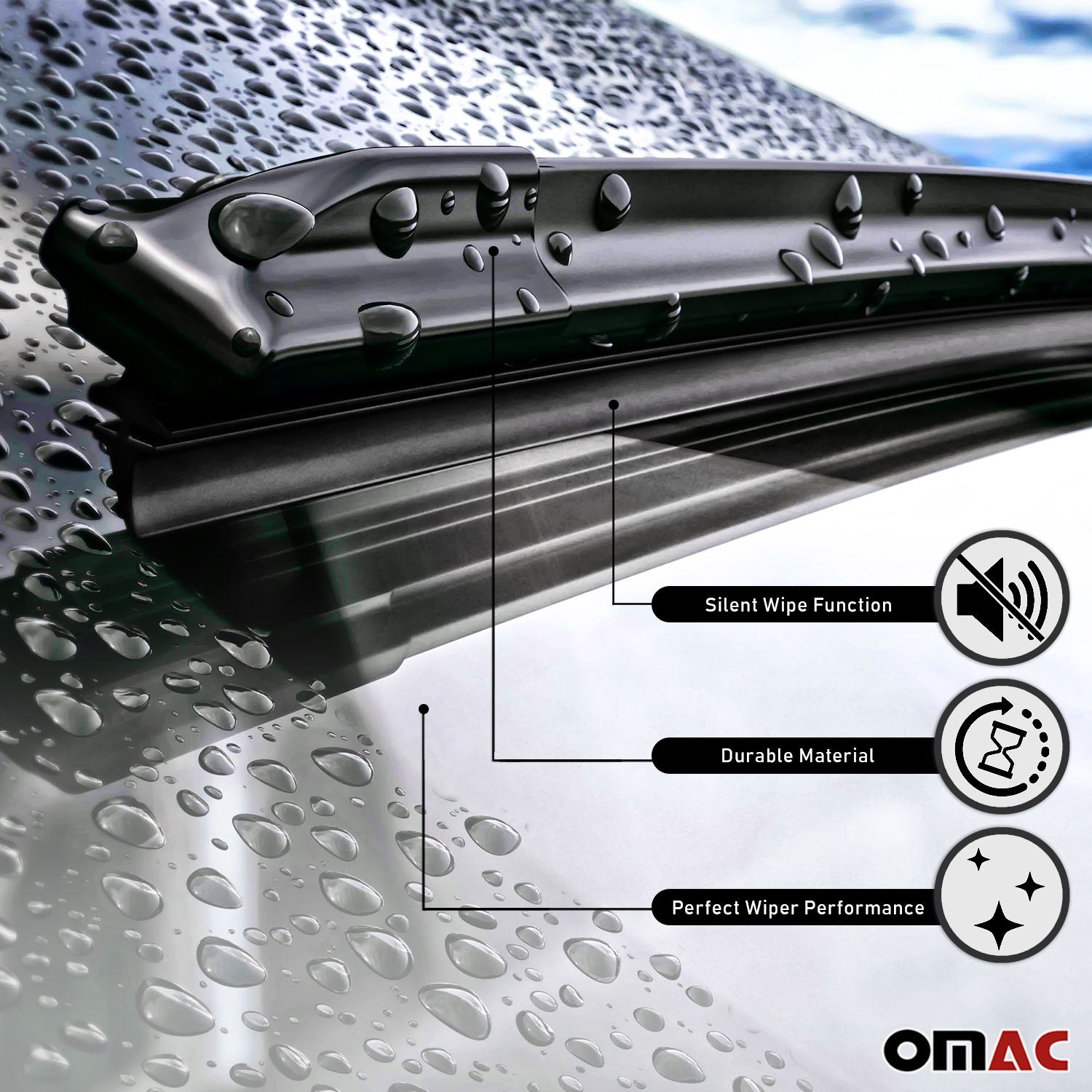 "OMAC Premium Wiper Blades 14"" & 26 Combo Pack for Nissan Rogue Select 2014-2015"
