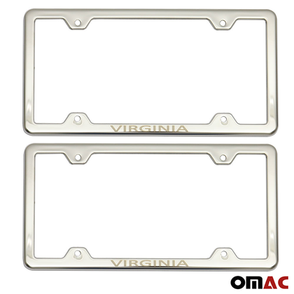 VIRGINIA Stainless Steel Chrome License Plate Frame Set 2 Pcs For Nissan Rogue