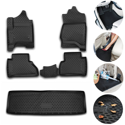 For Cadillac Escalade Floor Mats & Cargo Trunk Liner 3D Fit Black Set 2015-19 Omac Shop Usa - Auto Accessories