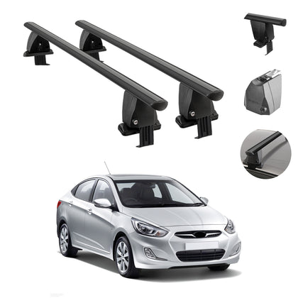 Fits Hyundai Accent Sedan 2012-2017 Smooth Roof Rack Crossbar Carrier Rail Black