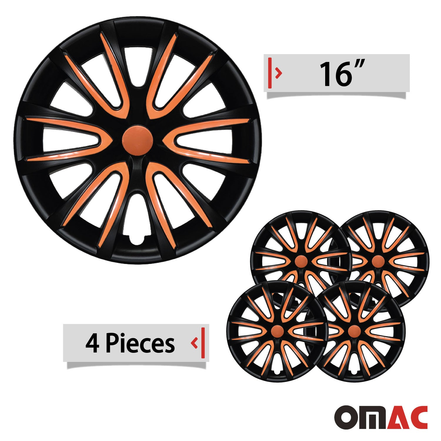 "16"" Inch Hub Cap Wheel Rim Cover Matt Black with Orange for Chevy Trax Set"