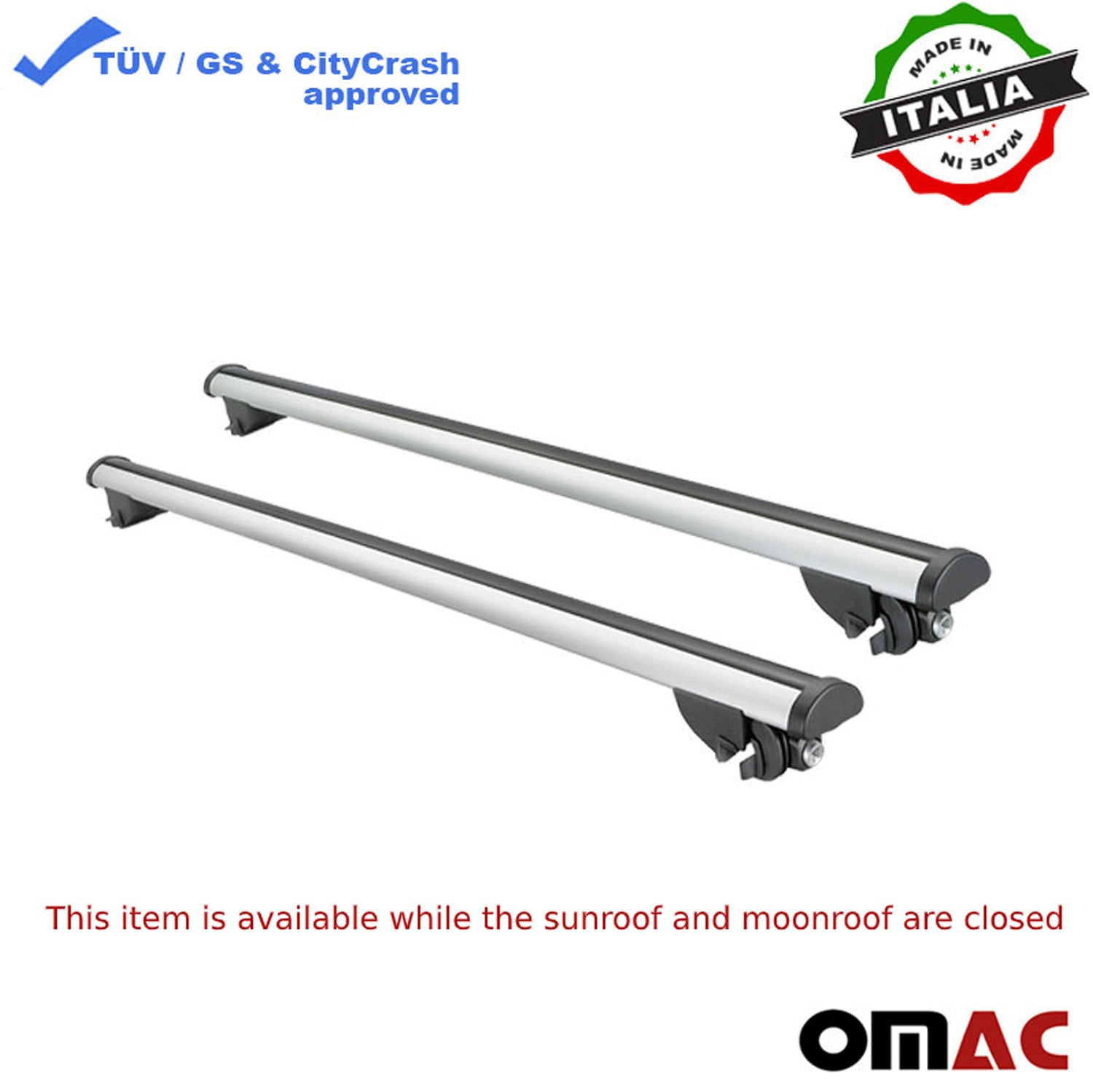 Fits Volvo XC90 2015-2021 Roof Rack Cross Bars Luggage Carrier Silver Set