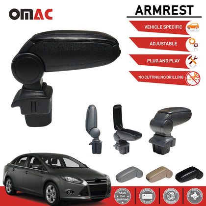 Black Leatherette Center Storage Box Armrest w/USB for Ford Focus 2012-2014 Omac Shop Usa - Auto Accessories