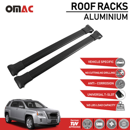 Fits GMC Terrain 2010-2017 Roof Rack Cross Bars Luggage Carrier Black Set