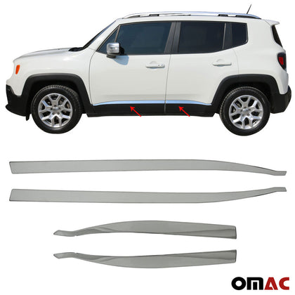 For Jeep Renegade 2018-2020 Chrome Side Door Streamer Trim Cover S.Steel 4 Pcs