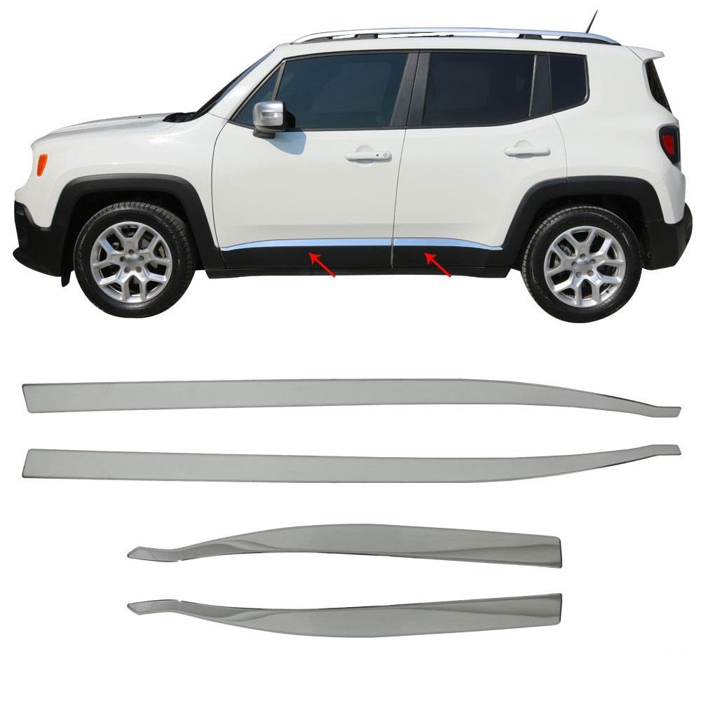 For JEEP Renegade 2015-2018 Chrome Side Door Streamer Trim Cover S.Steel 4 Pcs