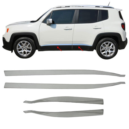 Omac usa - Chrome Side Body Molding Door Streamer Protector Steel for JEEP RENEGADE 2014- - Omac Shop Usa - Auto Accessories