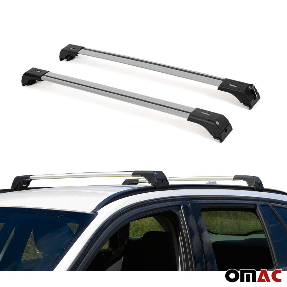 Roof Rack Cross Bars Cross Rail Lockable 2 Pcs Silver for Hyundai Kona 2018-2020