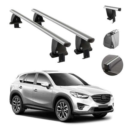 Silver Smooth Roof Rack Cross Bar Luggage Carrier Alu. For Mazda CX-5 2013-2015