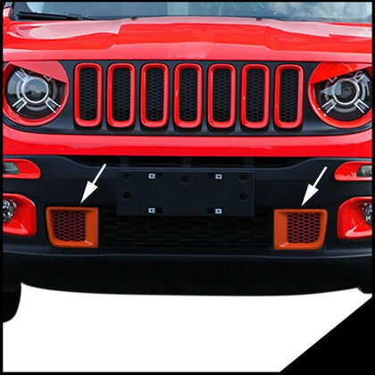 Fits Jeep Renegade 2015-2019 Chrome Front Bumper Trim Frame Orange 2 pcs Omac Shop Usa - Auto Accessories